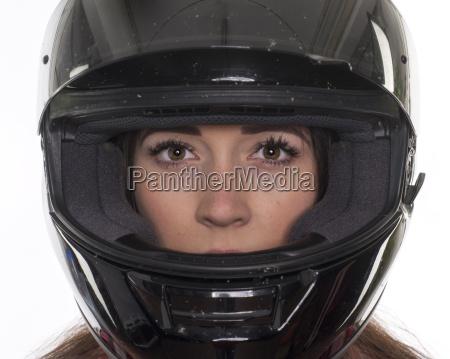kvinde portraet motorcykel hjelm kvinde ansigt