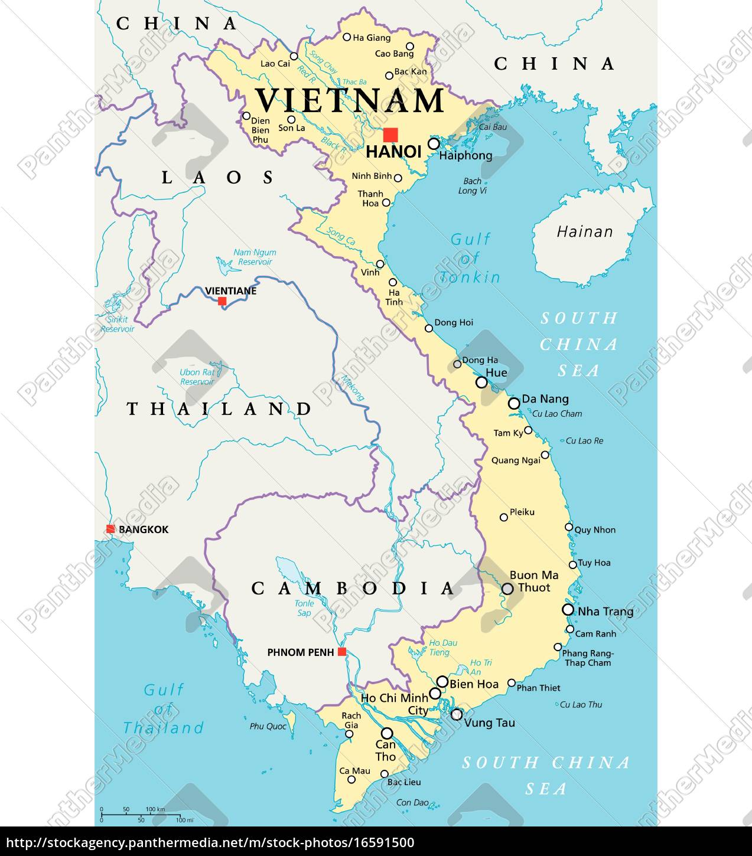 Vietnam Politisk Kort Stockphoto 16591500 Panthermedia