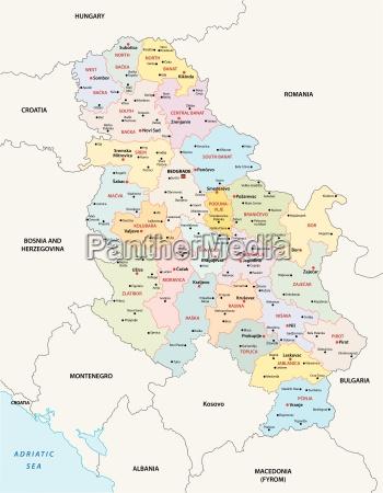 Administrativ Og Politisk Kort Over Republikken Serbien