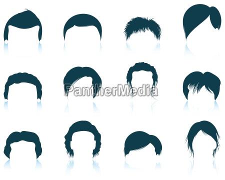 saet af menneskets frisurer ikoner