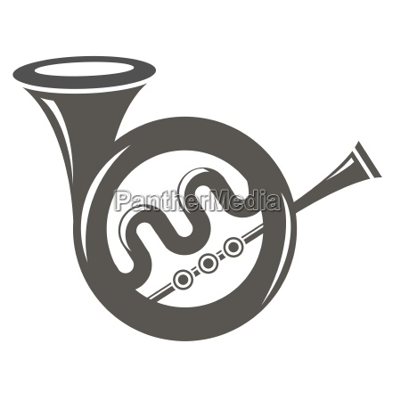 musical french horn icon isolated