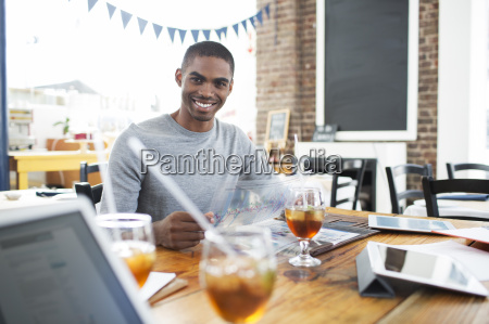 businessman having lunch meeting in cafe