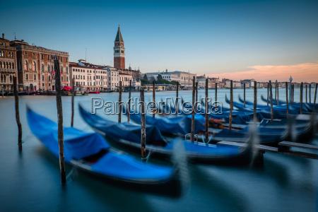italy venice moored gondolas at morning