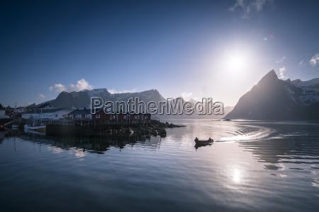 norway, , lofoten, , fishing, boat, in, fjord - 17395256