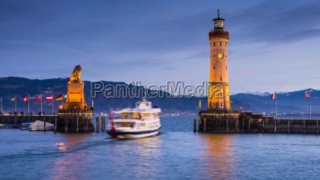 germany, , bavaria, , lindau, , lake, constance, , harbour - 17397906