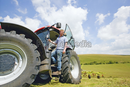 young farmer and tractor