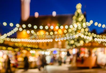 dekoreret julemarked abstrakt sloret lys baggrund