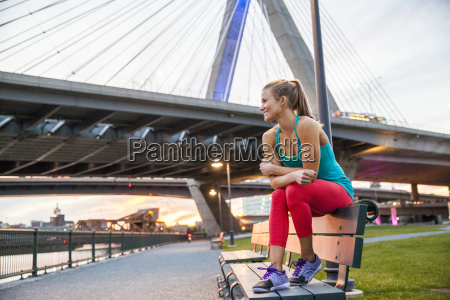 fit woman at sunset