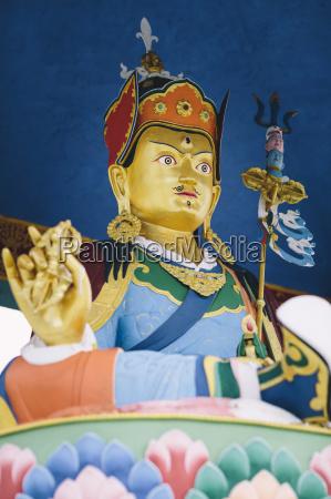 the rimpoche statue sits above pangboche