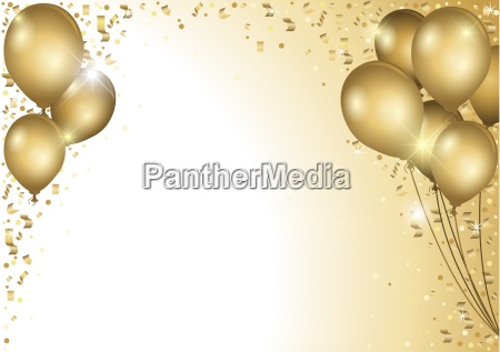 guld balloner og faldende konfetti