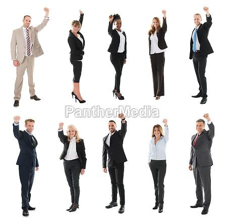 full length of happy business team