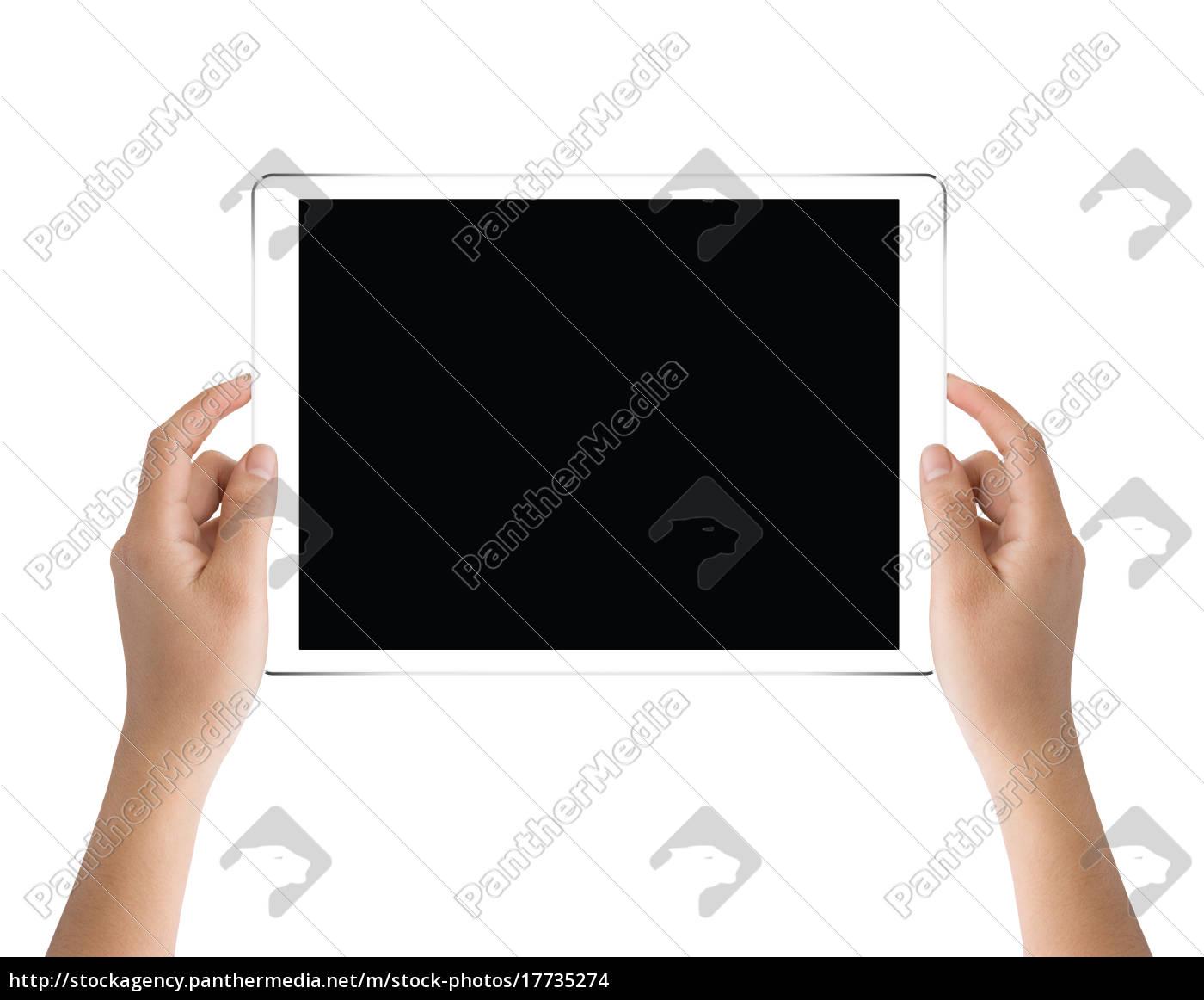 hånd, holder, sort, tablet, isoleret, på - 17735274