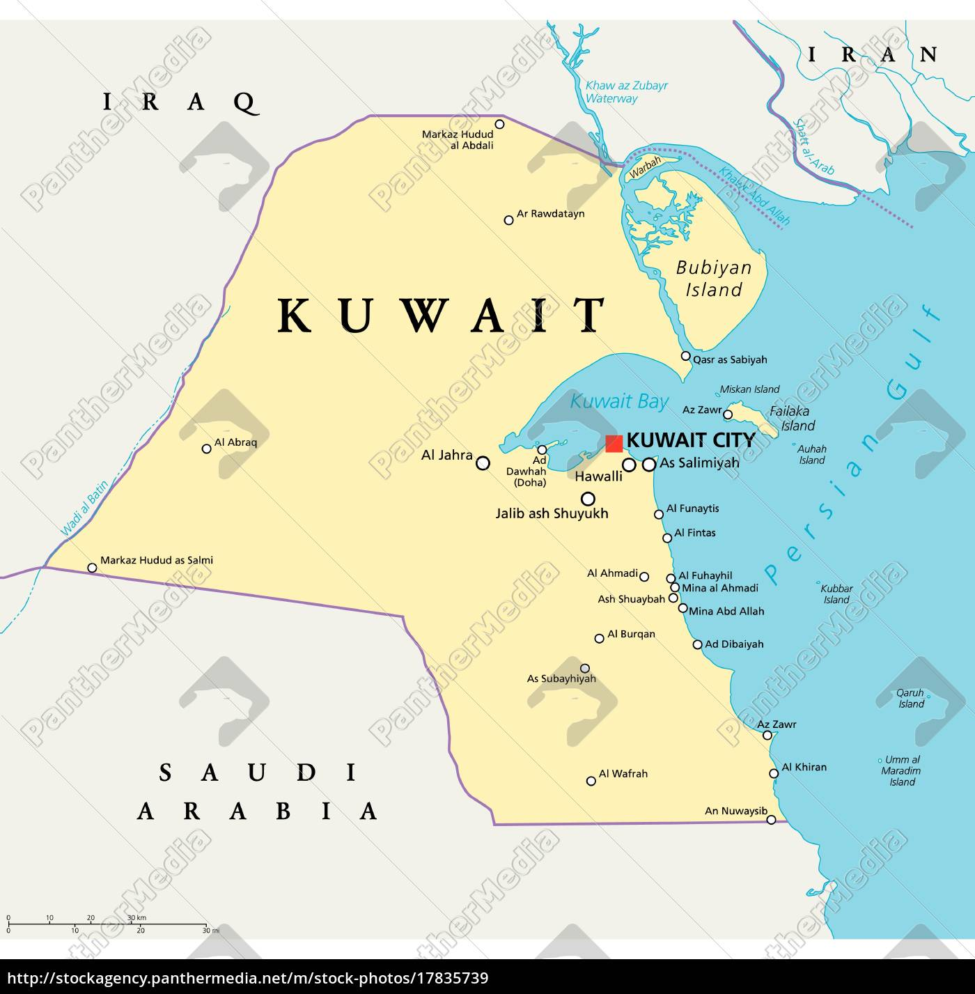 Kuwait Politisk Kort Royalty Free Image 17835739