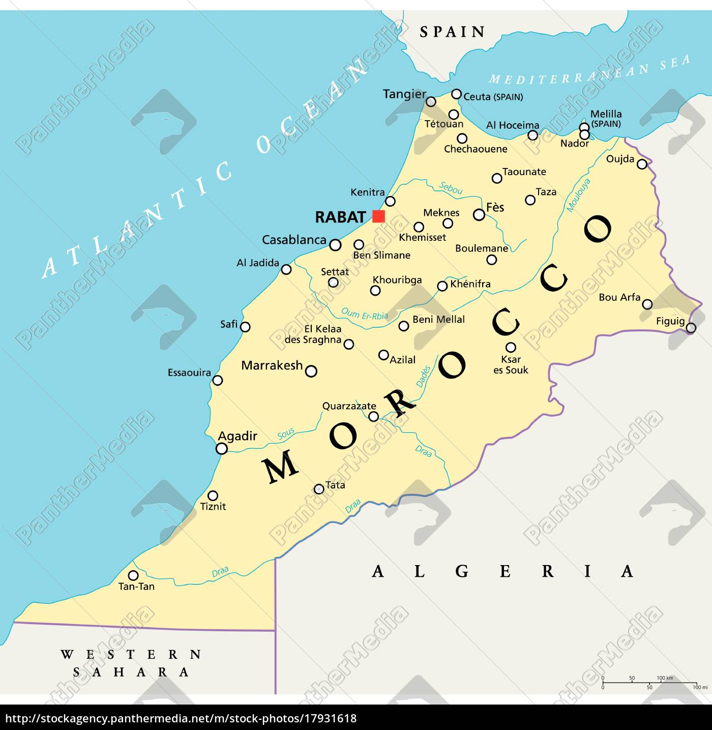 Marokko Politisk Kort Stockphoto 17931618 Panthermedia