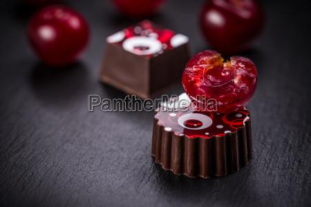 chocolate pralines with cherry