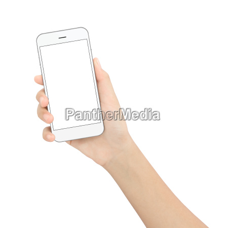 hand der holder sorte telefon isoleret