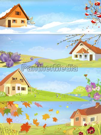 hus bygning vinter sommer sommerlig fire