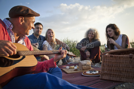 five adult friends picnicing on bournemouth