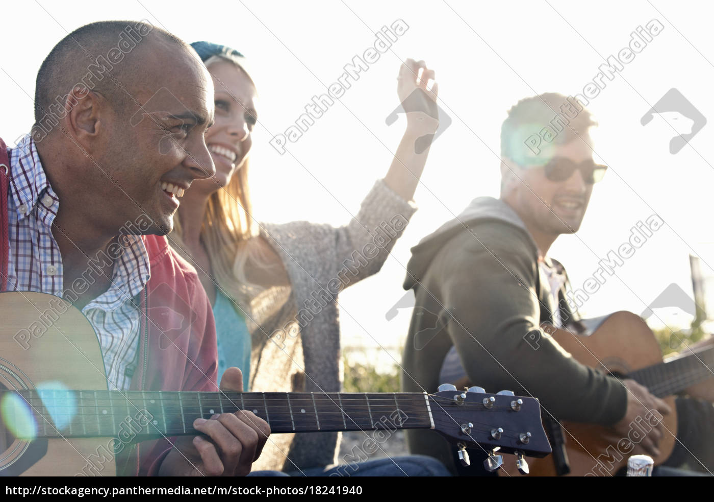 three, adult, friends, playing, acoustic, guitars - 18241940