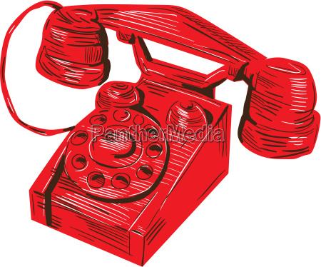 telefon vintage tegning