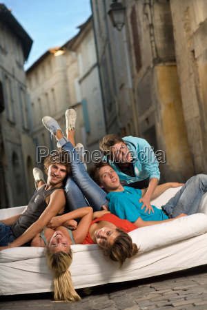 young group portrait sit on couch