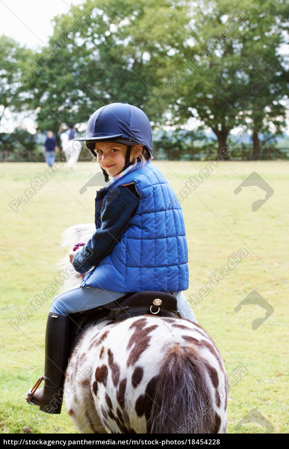 young, girl, riding, her, pony - 18454228