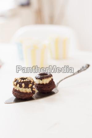 chokolade overdaekket bagt produkt pa kage
