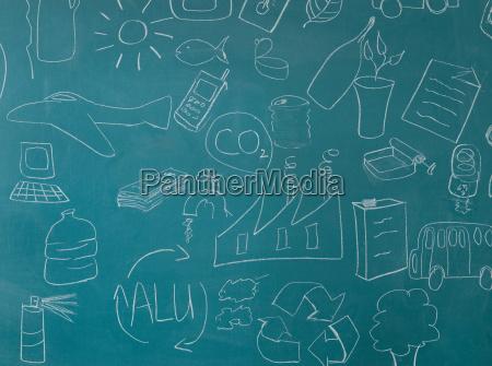 recicl ilustracoes no quadro negro