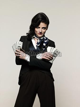 businesswoman, holding, money - 18647936