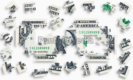 puslespil med pengesedler