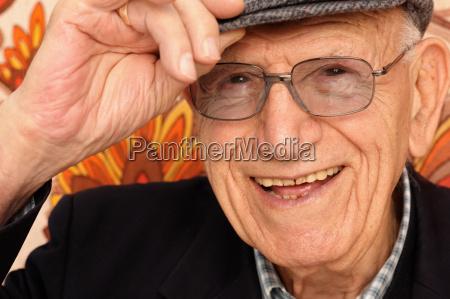 portrait of smiling elderly man