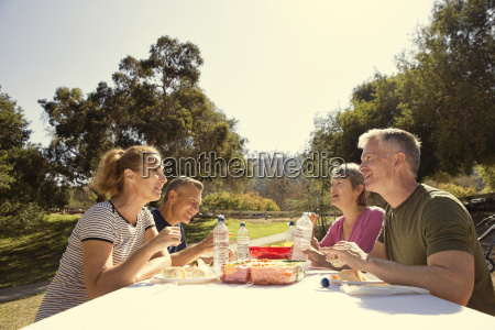 four mature adult friends having a