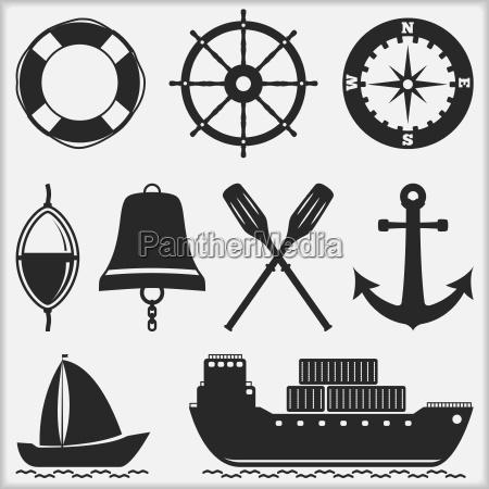 nautiske belastning ikon skib sejlbad robad