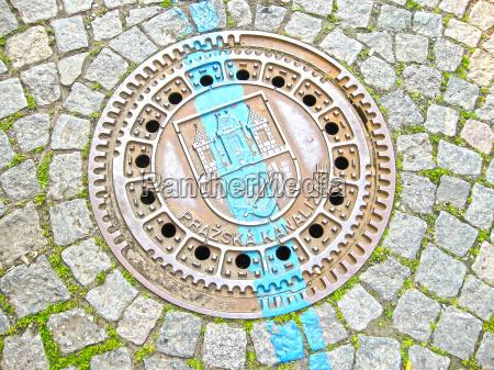 manhole on old style brick road