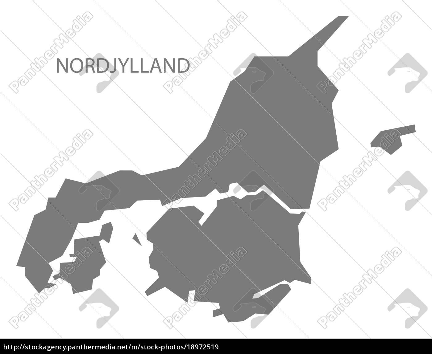 Nordjylland Danmark Kort Gra Stockphoto 18972519