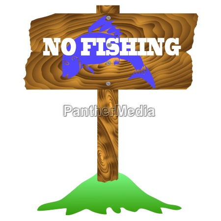 no fishing wooden sign isolated on