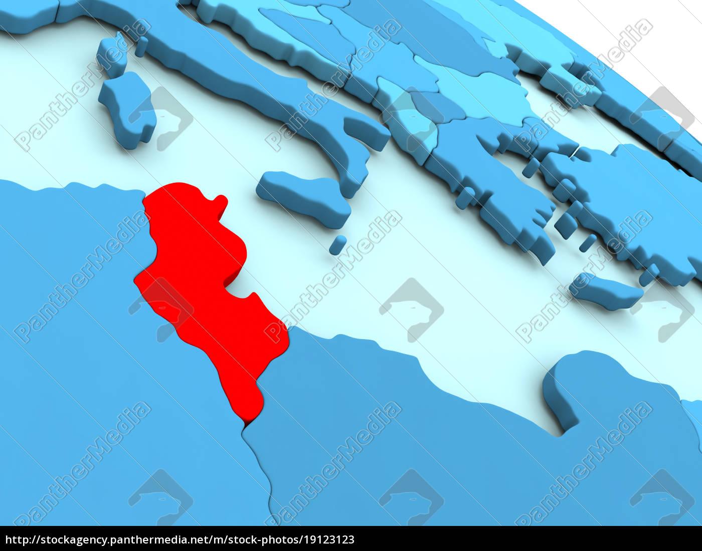 tunesien, i, rød, på, blå, globus - 19123123