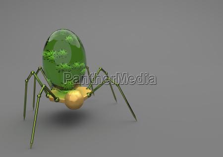 nanobot med virus pa gra baggrund