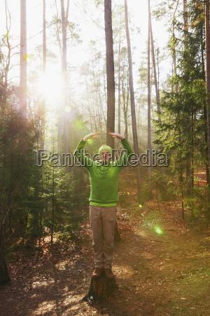 germany rhineland palatinate man doing yoga