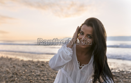 spain asturias beautiful young woman on
