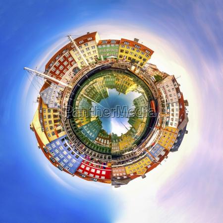 denmark copenhagen nyhavn spherical panorama