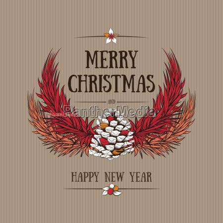 vector runde jul ramme med handtegnede