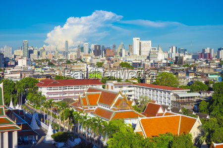 wat saket og bangkok skyline set