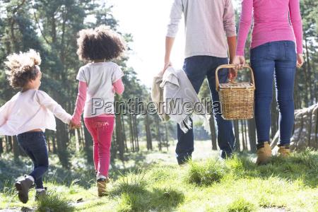 familie med picnic i naturen