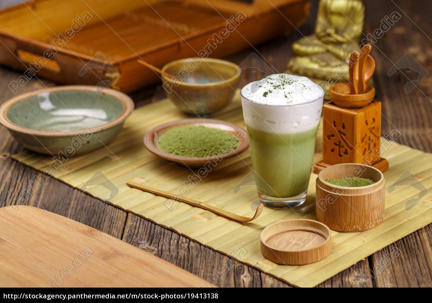 grøn, te, matcha, latte - 19413138