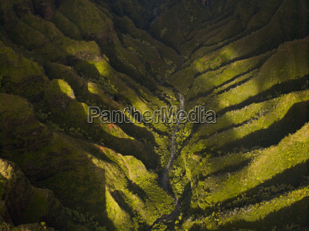 aerial view of waimea canyon state