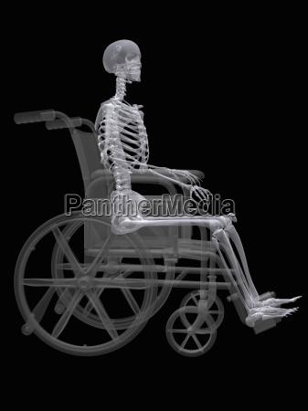 illustration af et skelet sidder i