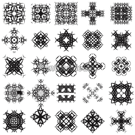 set of different tribal rosette tattoo