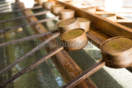 japanese bamboo ladle in japanese temple