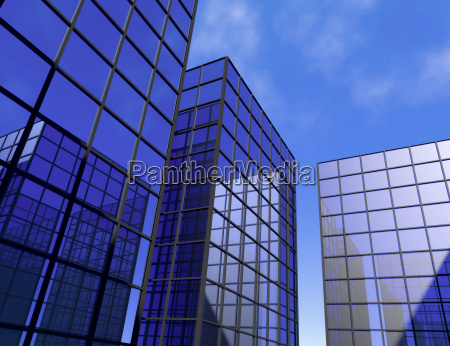 skyskraber kontor bla spejlglas vinduer himmel
